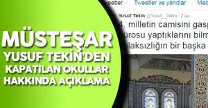 MEB Müsteşarı Yusuf Tekin'den Kapatılan Okullar Hakkında Açıklama