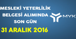 Mesleki Yeterlilik Belgesi Alımında Son Gün 31 Aralık !