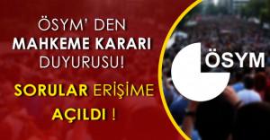 ÖSYM#039;den Mahkeme Kararı Duyurusu! Sorular Erişime Açıldı