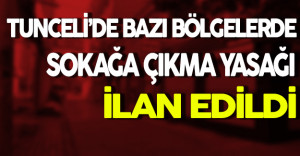 Tunceli'de Bazı Bölgelerde Sokağa Çıkma Yasağı İlan Edildi