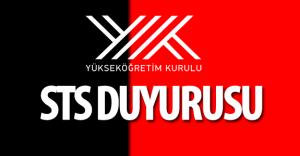 Yükseköğretim Kurulu Başkanlığı (YÖK) 20 Mayıs STS Duyurusu