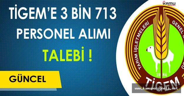 TİGEM'e 3 Bin 713 Personel Alım Talebi !