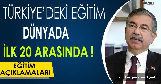 Türkiye'deki Eğitim Dünyada İlk 20 Arasında