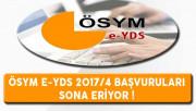 ÖSYM e-YDS 2017/4 Başvuruları Sona Eriyor