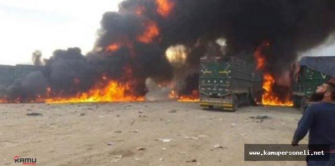 Van'da  Teröristler 5 Tırı Ateşe Verdi