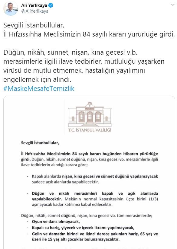 İstanbul Valisi Yerlikaya son dakika açıkladı! Düğünlerde bugünden itibaren yasaklar başladı