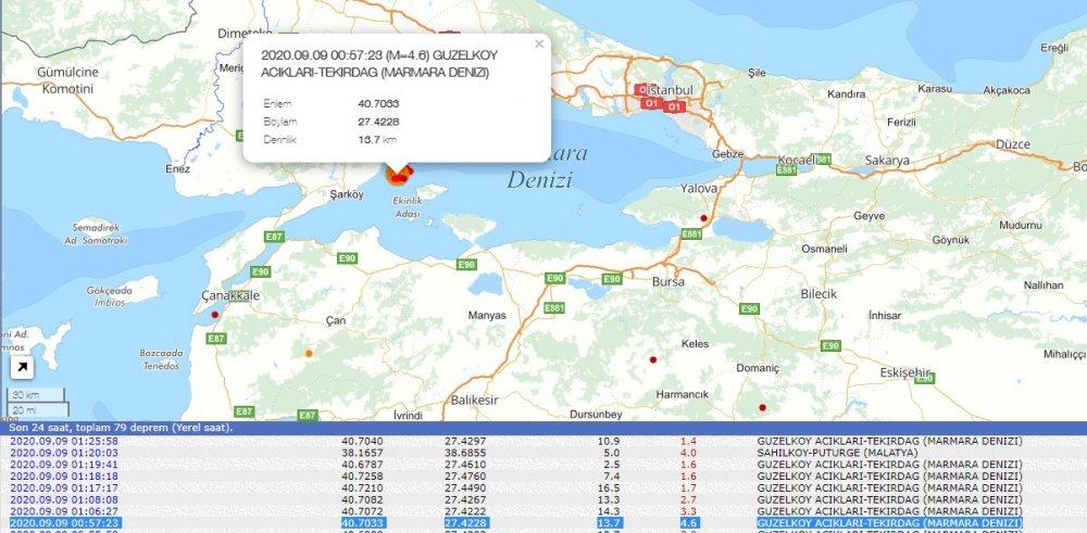 Gece yarısı Marmara'da 4.6 şiddetinde korkutan deprem! İstanbul'dan da hissedildi!
