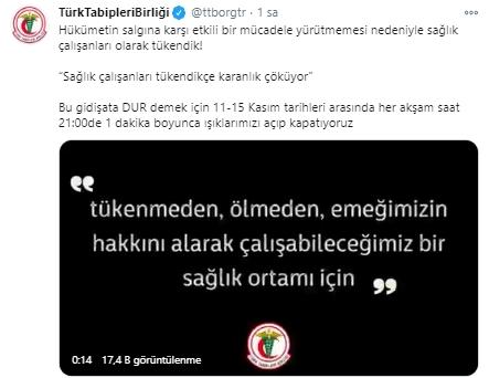 Sağlık çalışanları tükeniyor! Türk Tabipleri Birliği'nden vatandaşlara çağrı! 11 - 15 Kasım'da her gün ışıkları açıp kapatıyoruz!