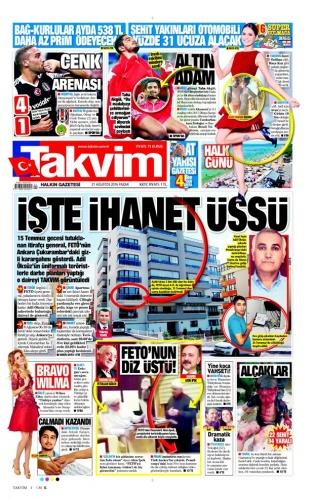 21.08.2016 - Günün Gazete Manşetleri