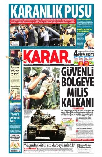 Günün Gazete Manşetleri 26 Ağustos 2016