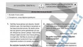 LGS Din Kültürü ve Ahlak Bilgisi Testi Soru ve Cevapları Açıklandı