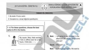 2018 LGS İngilizce Sınav Soru ve Cevapları