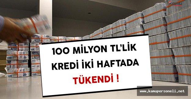 100 Milyon TL'lik Nefes Kredisi İki Haftada Tükendi