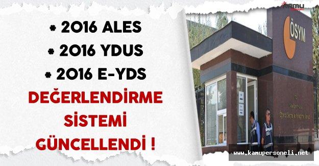 2016 ALES, YDUS ve e-YDS Sonuç Değerlendirme Sistemi Güncellendi