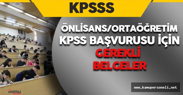 2016 KPSS-Ortaöğretim/Önlisans Başvurusu İçin Gerekli Evraklar