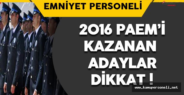 2016 PAEM Sınavını Kazananlar Dikkat !
