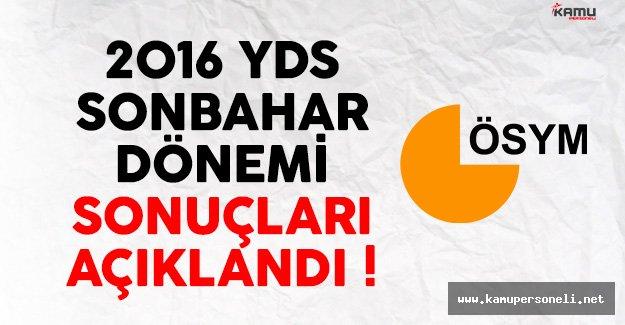 2016 YDS Sonbahar Dönemi Sonuçları Açıklandı !