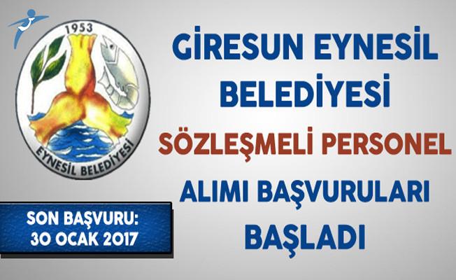 Giresun Eynesil Belediyesi Sözleşmeli Personel Alımı Başvuruları Başladı