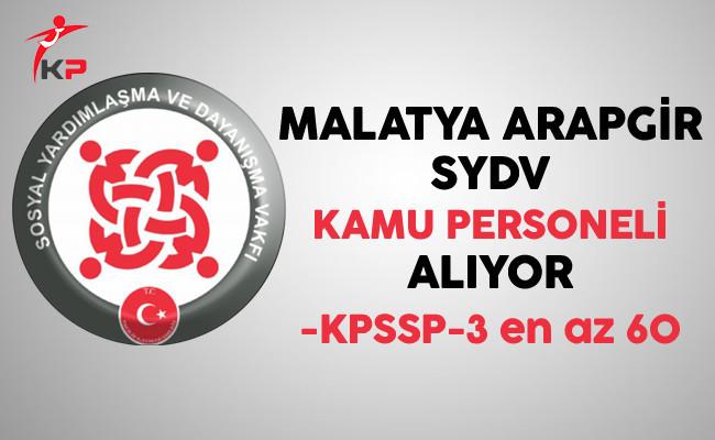 Malatya Arapgir SYDV Kamu Personeli Alıyor