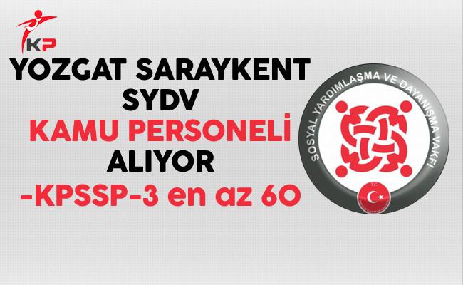 Yozgat Saraykent SYDV Kamu Personeli Alıyor