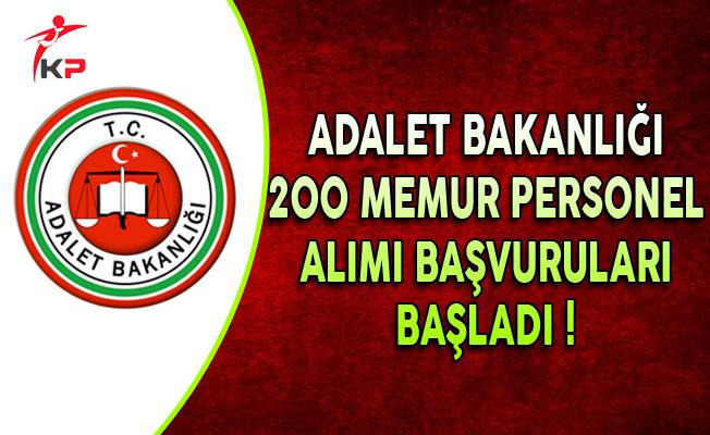 Adalet Bakanlığı Naklen 200 Memur Personel Alımı Başvuruları Başladı