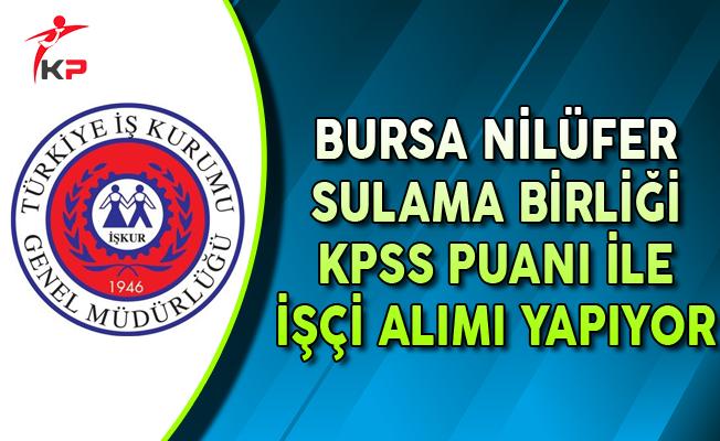 Bursa Nilüfer Sulama Birliği KPSS Puanı ile İşçi Alımı Yapıyor
