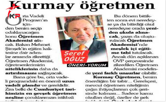 Sabah Gazetesi Yazarı Şeref Oğuz'a Öğretmenlerden Büyük Tepki