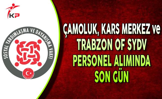 Giresun Çamoluk, Kars Merkez SYDV ve Trabzon Of SYDV Memur Alımında Son Gün