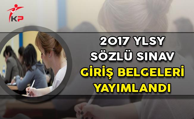 2017 YLSY Sözlü Sınav Giriş Belgeleri MEB'den Yayımlandı