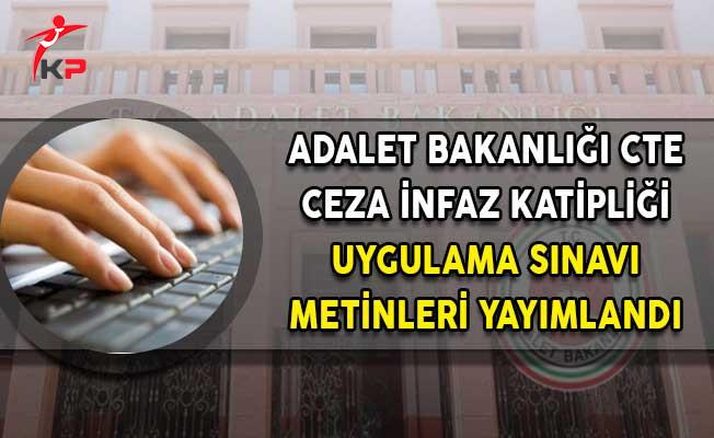 Adalet Bakanlığı Ceza İnfaz Katipliği Uygulama Sınav Metinlerini Yayımladı!