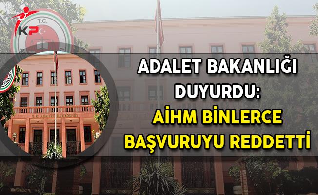 Adalet Bakanlığı Duyurdu: AİHM Binlerce Başvuruyu Reddetti
