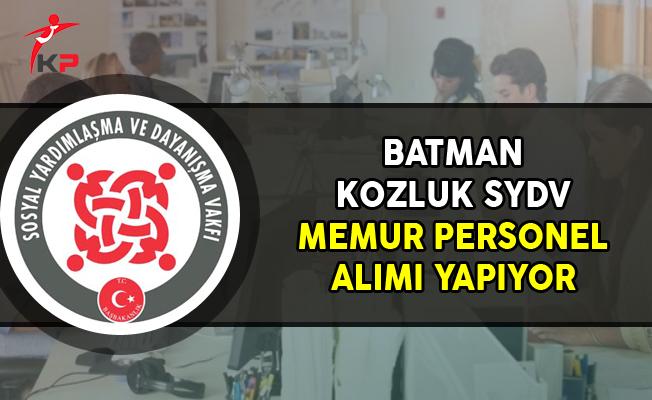 Batman Kozluk SYDV Memur Personel Alımı Yapıyor