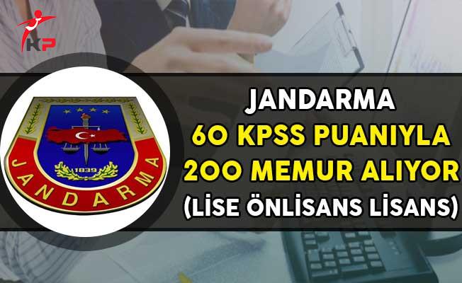 Jandarma Genel Komutanlığı 60 KPSS Puanıyla 200 Kamu Personeli Alıyor!