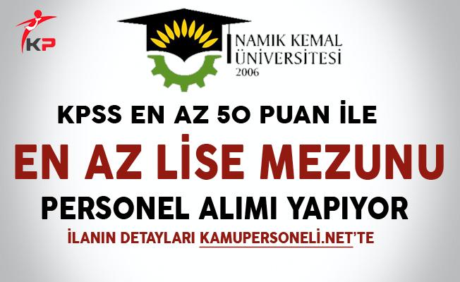 Namık Kemal Üniversitesi Kamu Personel Alımında Son Gün