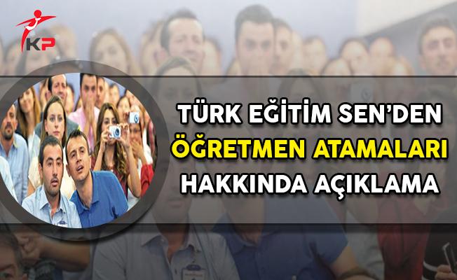 Türk Eğitim Sen'den Öğretmen Atamalarına İlişkin Açıklama