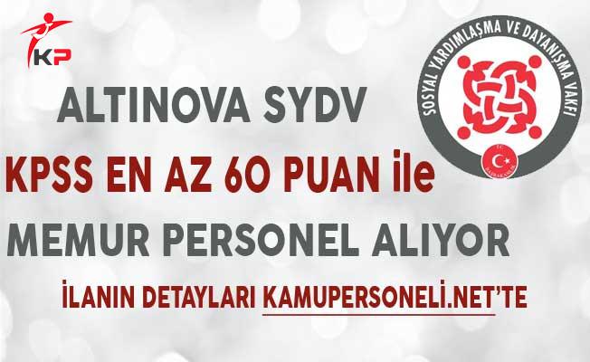 Yalova Altınova SYDV KPSS Puanı ile Memur Personel Alımı Yapıyor