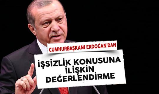 Cumhurbaşkanı Erdoğan'dan İşsizlik Konusuna Dair Değerlendirme