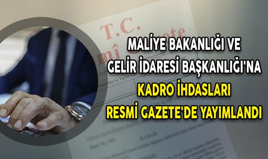 Maliye Bakanlığı ve Gelir İdaresi Başkanlığı'na Kadro İhdasları Resmi Gazete'de Yayımlandı