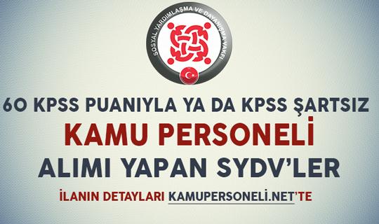 SYDV Kamu Personeli Alım İlanları (60 KPSS Puanıyla yada KPSS Şartsız)