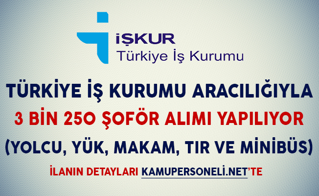 Türkiye İş Kurumu Aracılığıyla 3 Bin 250 Şoför Alım İlanı Yayımlandı (Makam, Yolcu, Yük ve Otobüs Şoförü)