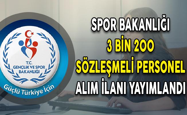 Spor Bakanlığı 50 KPSS Puanıyla 3 Bin 200 Sözleşmeli Personel Alım İlanı Yayımlandı