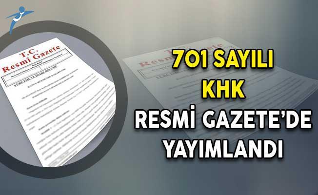 701 Sayılı İhraç ve İade  KHK'sı Resmi Gazete'de Yayımlandı