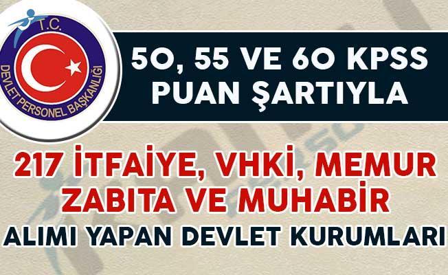 50, 55 ve 60 KPSS Puan Şartıyla 217 Kamu Personeli Alınıyor