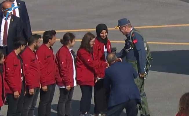 Cumhurbaşkanı Erdoğan TEKNOFEST alanına uçağıyla geldi