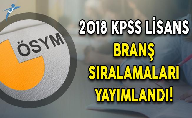 2018 KPSS Lisans Branş Sıralamaları Yayımlandı!