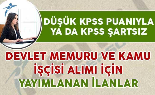 Düşük KPSS yada KPSS Şartsız Yayımlanan Devlet Memuru ve Kamu İşçisi İlanları