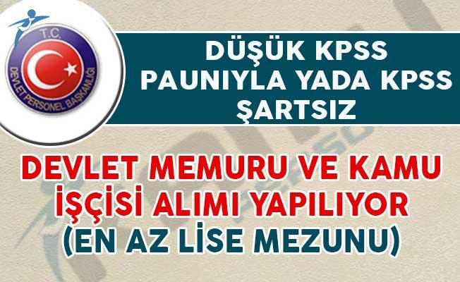 KPSS Şartsız yada Düşük KPSS Puanıyla Yayımlanan Kamu Personeli Alım İlanları