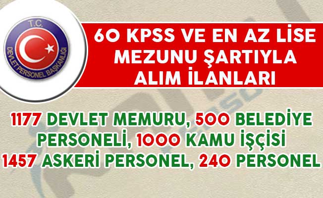 60 KPSS Puanıyla 3 Bin 357 Memur, Kamu İşçisi ve Belediye Personeli Alımı Yapılıyor