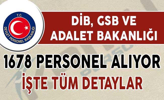 DİB, GSB ve Adalet Bakanlığı 1678 Kamu Personeli Alımı Yapıyor