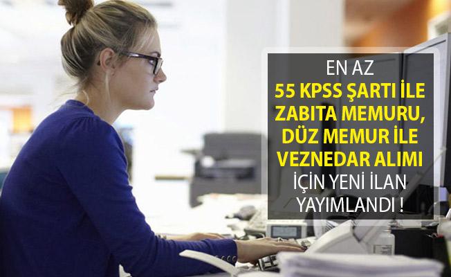 En Az 55 KPSS Puan Şartı İle Zabıta Memuru, Düz Memur İle Veznedar Alımı İçin Yeni İlan Yayımlandı!